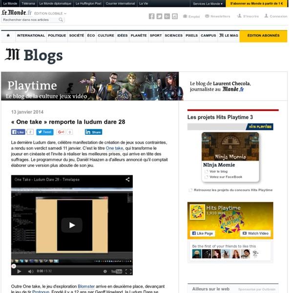 Playtime : Blog hébergé par le Monde, animé par Laurent Checola, journaliste spécialisé