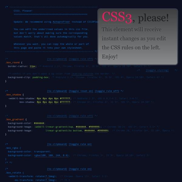 Cross-Browser CSS3 Rule Generator