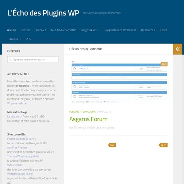L'Écho des Plugins WP - l'actualité des plugins WordPress