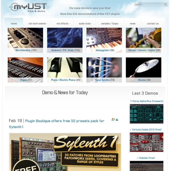 VST Demos & Free Plugins - Virtual Instruments, Effects, Samples