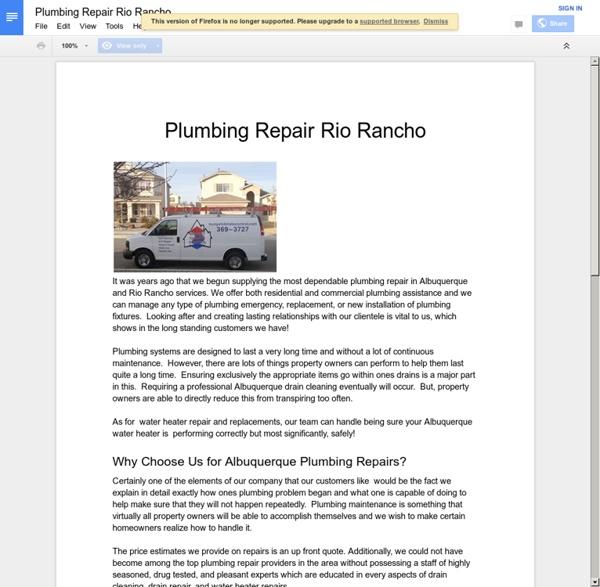 Plumbing Repair Rio Rancho