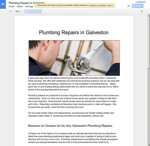 Plumbing Repairs in Galveston