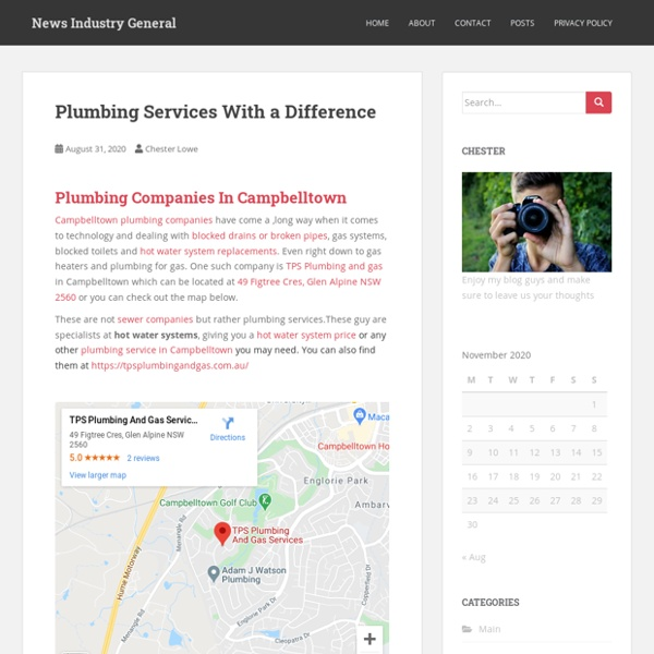 Plumbing Services With a Difference - News Industry General