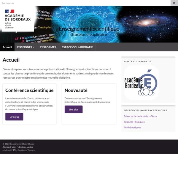 Enseignement Scientifique – Site pluridisciplinaire