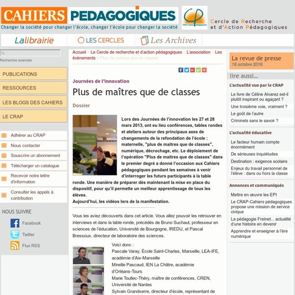 Cahiers pédagogiques 2013 : Plus de maîtres que de classes