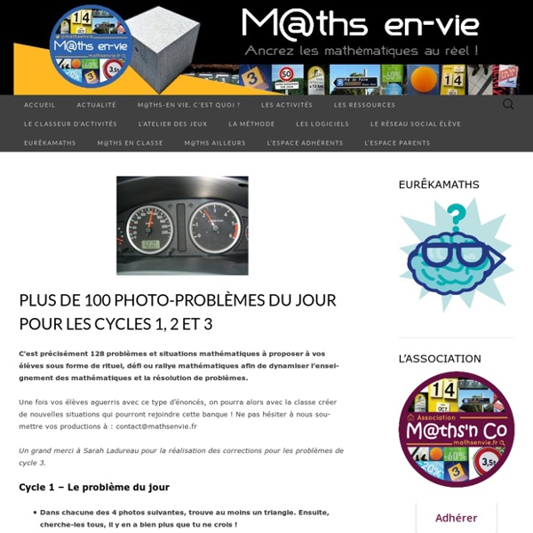 #ContinuitePedagogique #COVID19 – Les problèmes du jour pour les cycles 1, 2 et 3 – M@ths en-vie