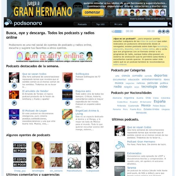 PODSONORO. Podcasts y radios online en Espa ol