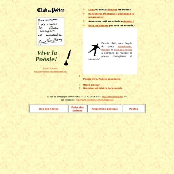 La poésie est vivante, Vive la Poésie! par le Club des Poètes