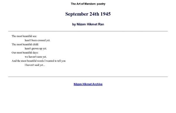 Poetry of Nazim Hikmet Ran