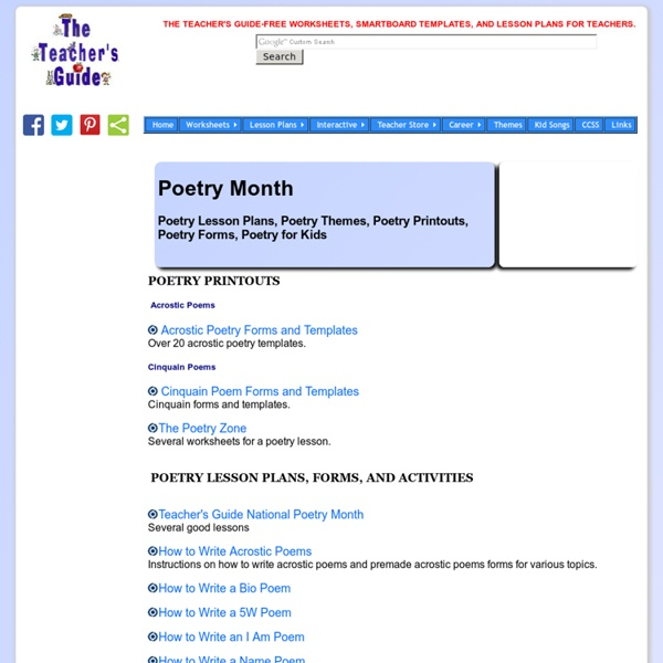 poety lesson plans and worksheets pearltrees
