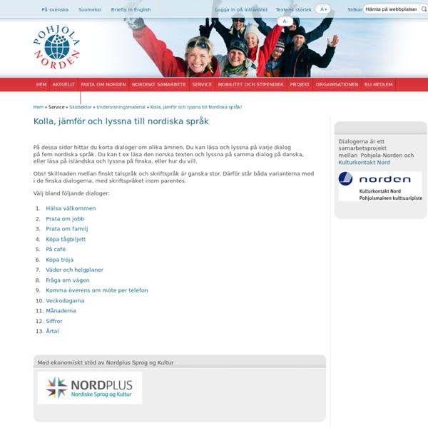 Kolla, jämför och lyssna till Nordiska språk!