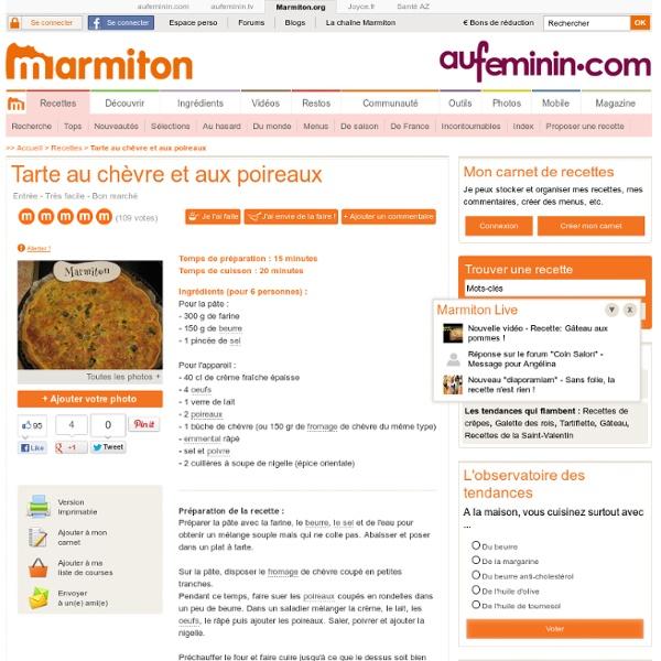 Tarte au chèvre et aux poireaux - Recette de cuisine Marmiton :