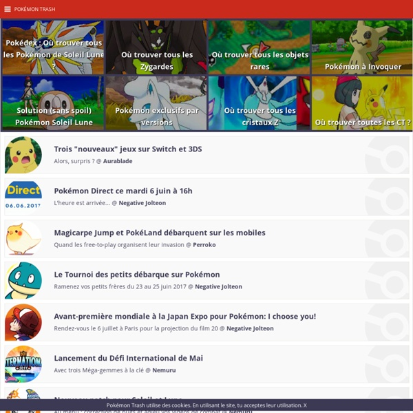 Pokémon Soleil Lune, Pokemon Go, Pokedex, codes Pokemon, soluces et jeux