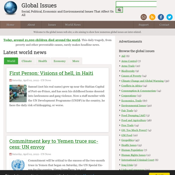 Global Issues : social, political, economic and environmental issues that affect us all