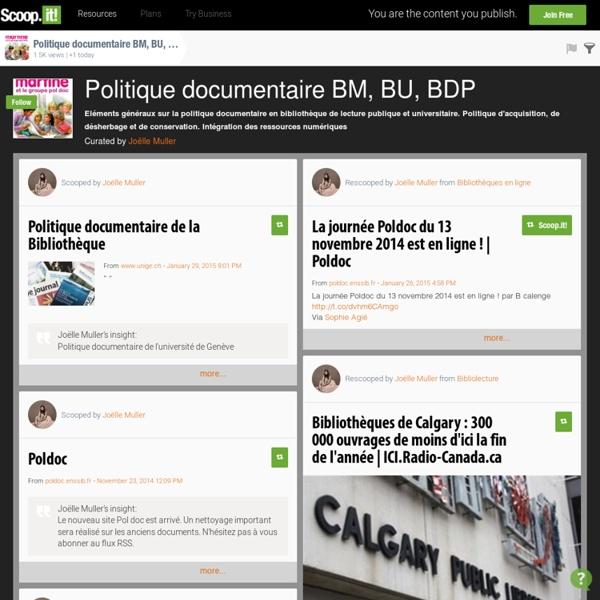 Politique documentaire BM, BU, BDP