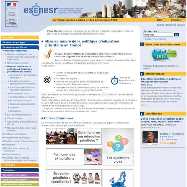 Mise en œuvre de la politique d'éducation prioritaire en France