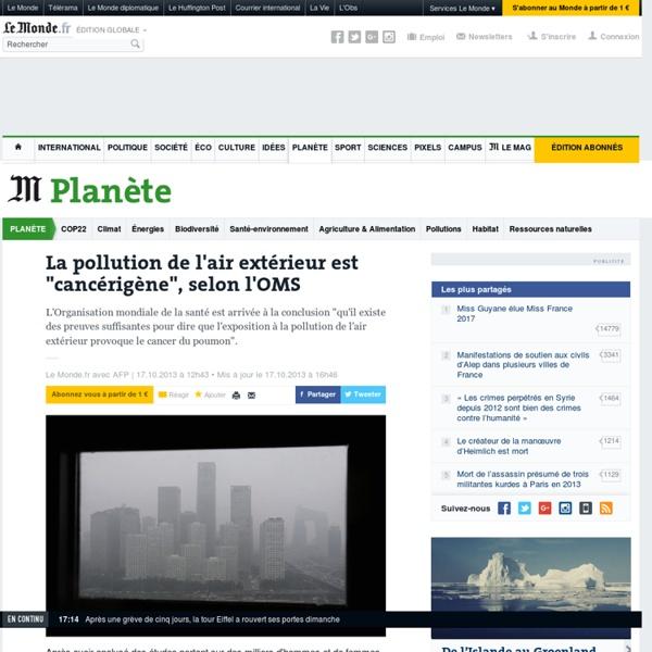 """La pollution de l'air extérieur est """"cancérigène"""", selon l'OMS"""