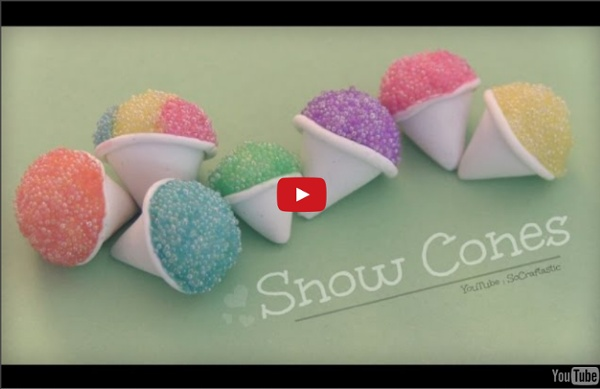 Snow Cone - Polymer Clay Charm - How To - Summer Crafts