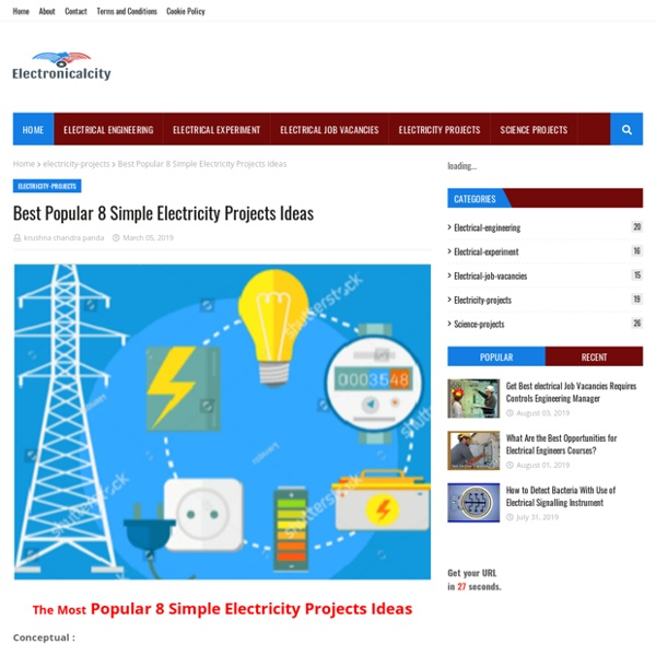 Best Popular 8 Simple Electricity Projects Ideas