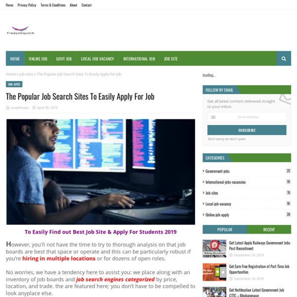 The Popular Job Search Sites To Easily Apply For Job