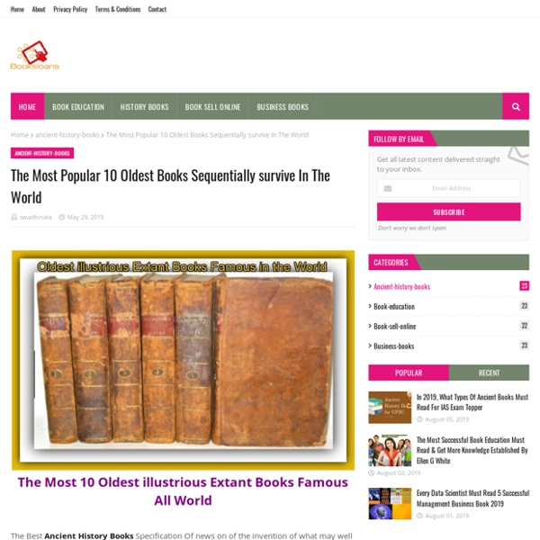 The Most Popular 10 Oldest Books Sequentially survive In The World
