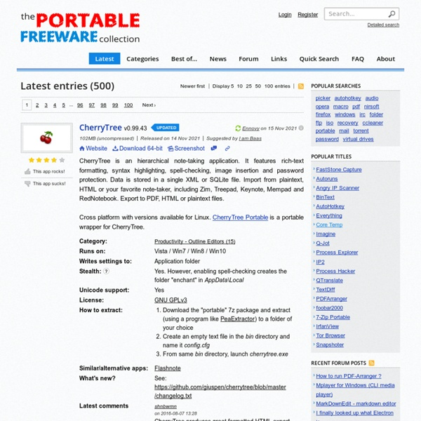 The Portable Freeware Collection - Latest entries