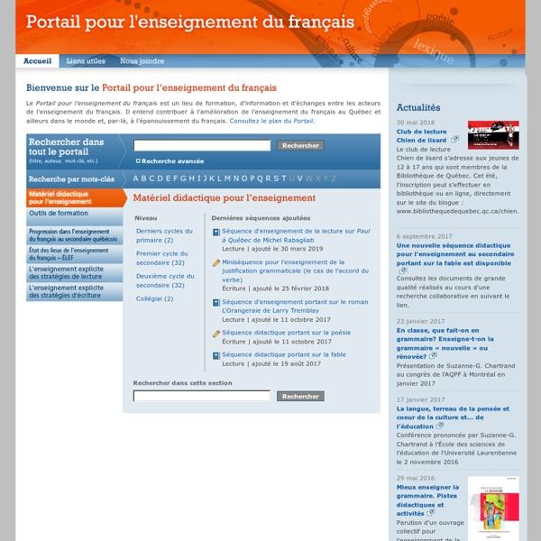 Portail pour l'enseignement du français - Accueil
