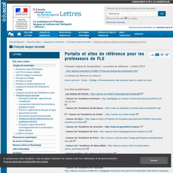 Portails et sites de référence pour les professeurs de FLS — Lettres