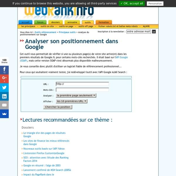 Test de positionnement Google - Outil gratuit fourni par WebRankInfo