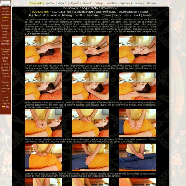 Positions Reiki - Listes des positions suggérées lors d'un soin complet de Reiki