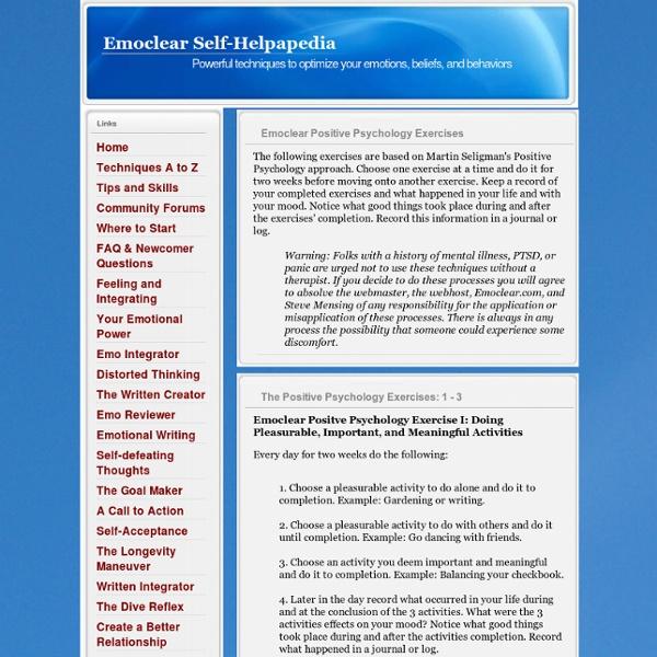 Positive Psychology Exercise - Emoclear Self-Helpapedia
