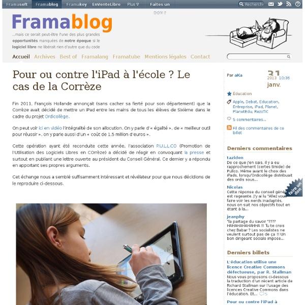 Pour ou contre l'iPad à l'école ? Le cas de la Corrèze