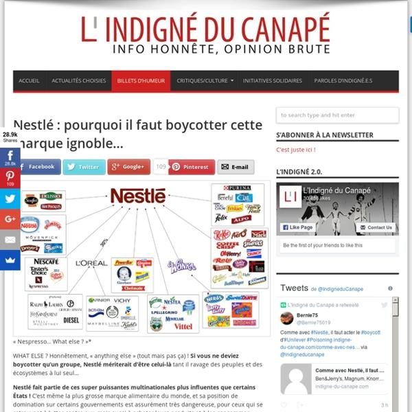 Nestlé : pourquoi il faut boycotter cette marque ignoble…