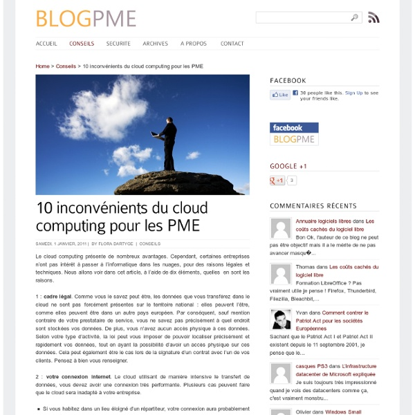 10 inconvénients du cloud computing pour les pme
