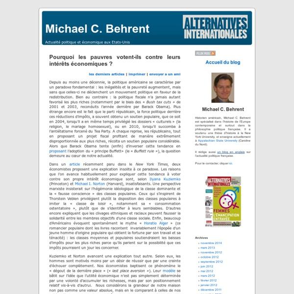 Michael C. Behrent » Blog Archive » Pourquoi les pauvres votent-ils contre leurs intérêts économiques ?