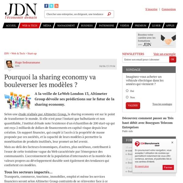 Pourquoi la sharing economy va bouleverser les modèles