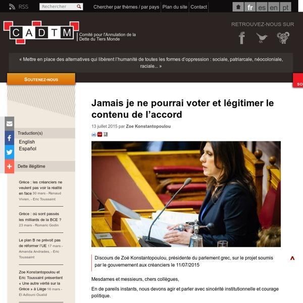 « Jamais je ne pourrai voter et légitimer le contenu de l'accord »