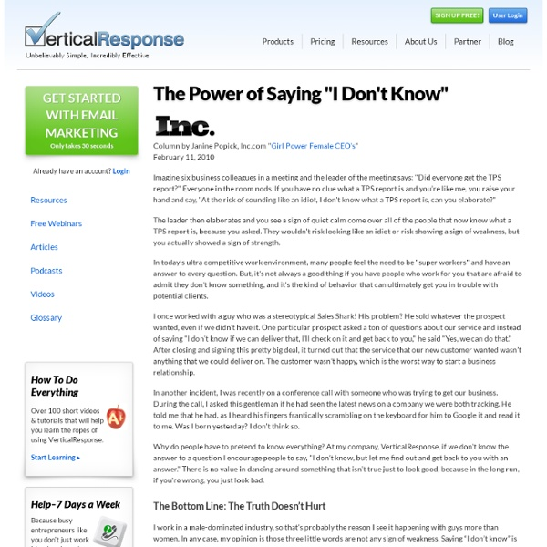 "The Power of Saying ""I Don't Know"""