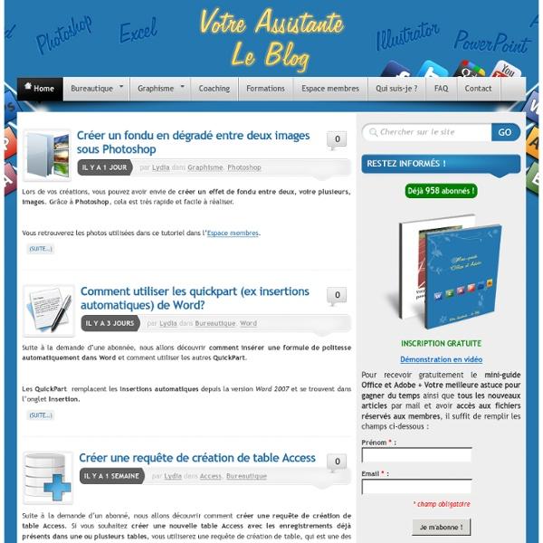 Tutoriels vidéos sur Word, Excel, Access, Powerpoint, Photoshop et Illustrator - Votre Assistante - Le Blog
