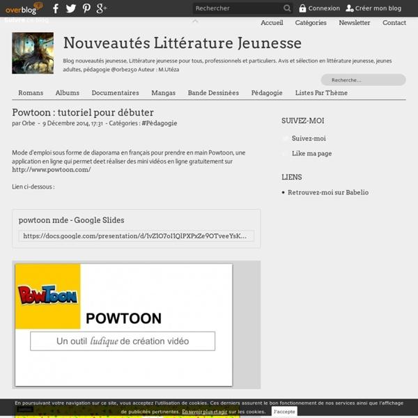 Powtoon : tutoriel pour débuter - LivresAdos : Nouveautés Littérature Jeunesse