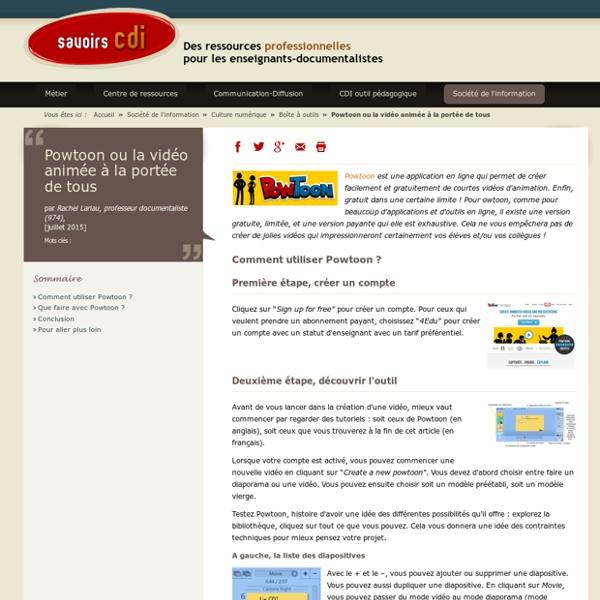 Savoirs CDI : Powtoon ou la vidéo animée à la portée de tous
