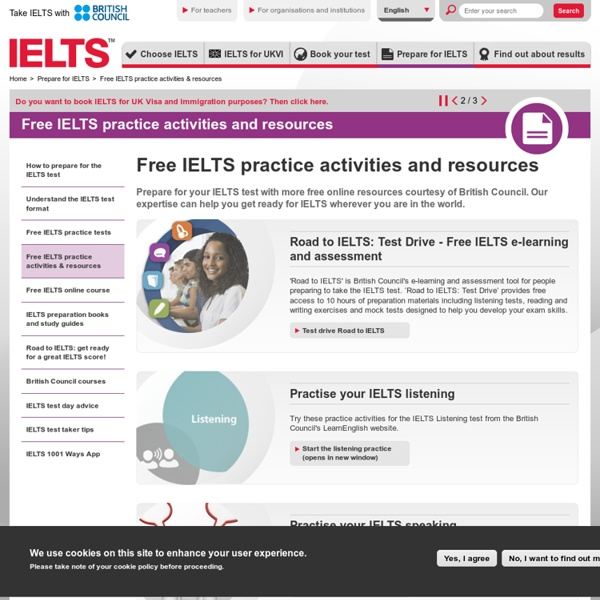 IELTS practice resources freely available to develop exam skills