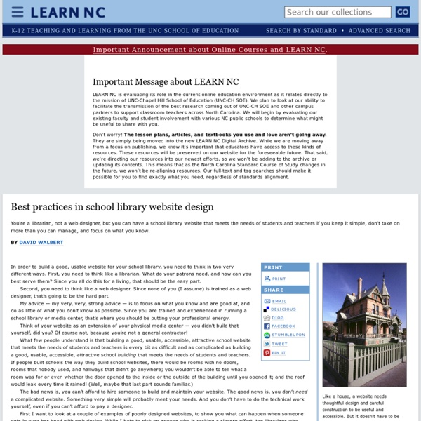 Best practices in school library website design