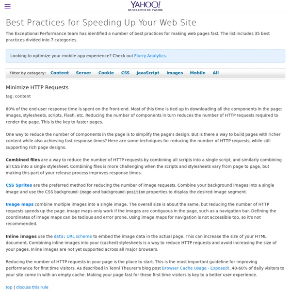 Best Practices for Speeding Up Your Web Site - Yahoo Developer Network