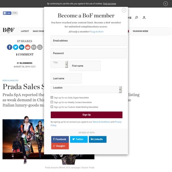 Prada Sales Slide on Weak Demand