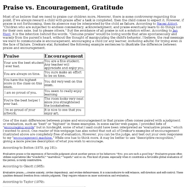 Praise versus Encouragement