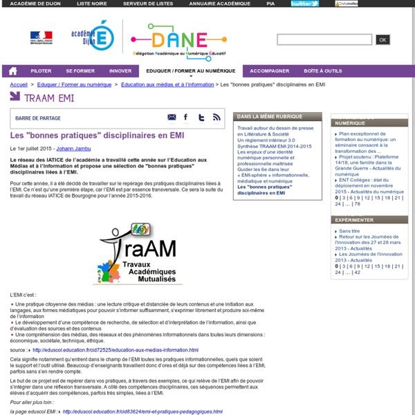 """Les """"bonnes pratiques"""" disciplinaires en EMI - DANE"""