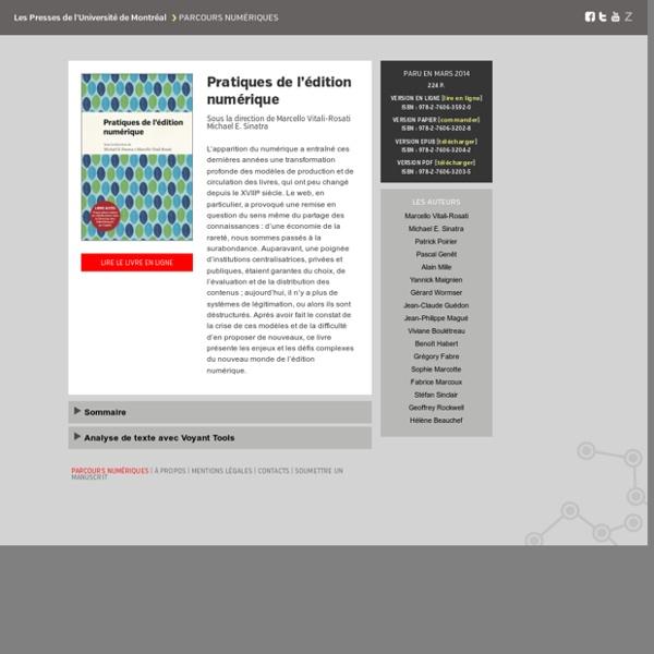 Site : Manuel des pratiques de l'édition numérique - PUM - Collection en libre accès
