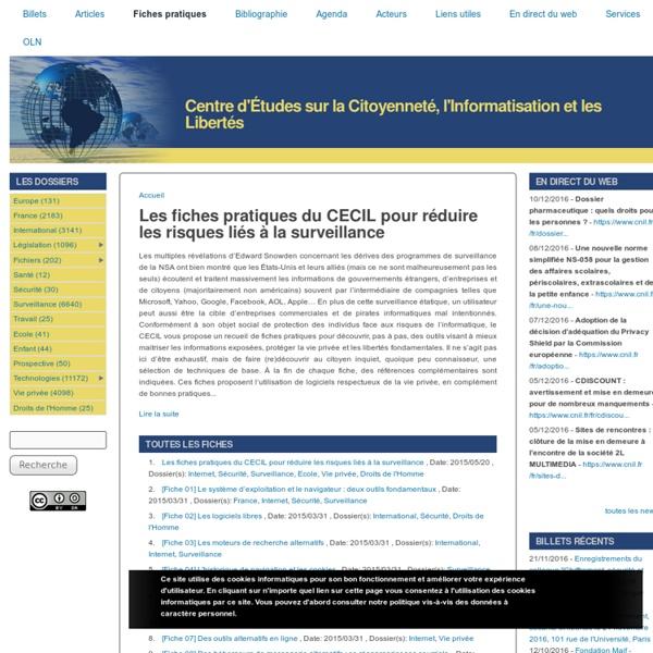 Les fiches pratiques du CECIL pour réduire les risques liés à la surveillance