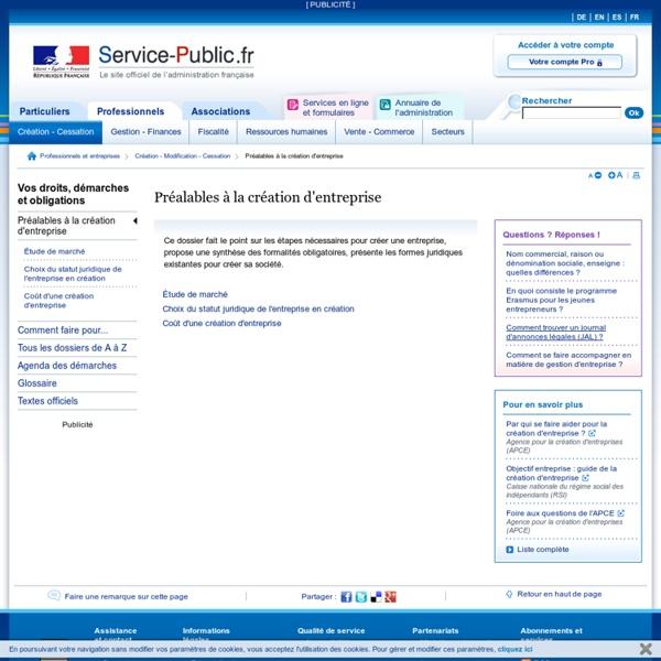 Création d'entreprise - pme.service-public.fr